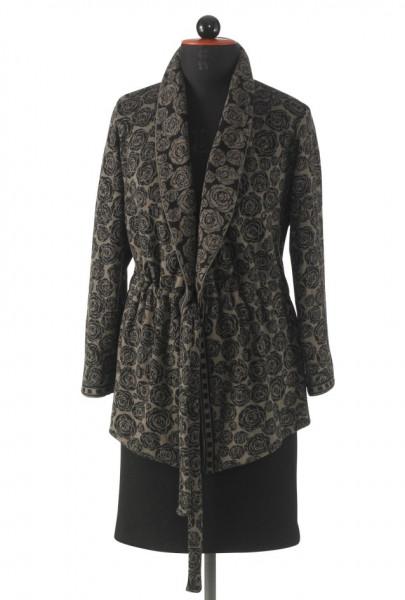 Jacke mit Tunnelzug aus braun-schwarzem Baumwoll-Jacquard