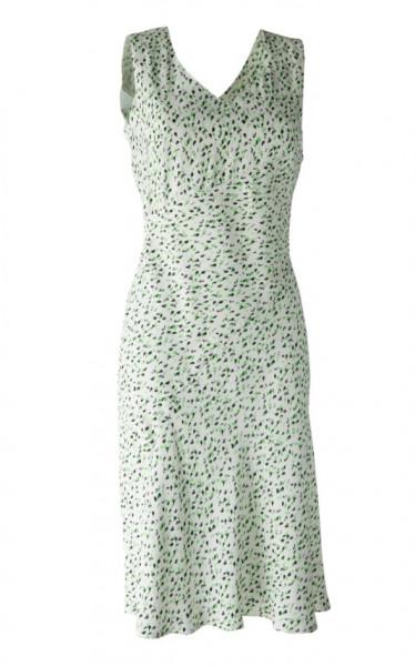 Kleid im 40er Jahre Stil aus weißgrundiger Viskose
