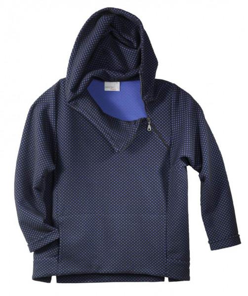Blau-schwarzer Kapuzenpullover mit Reißverschluss