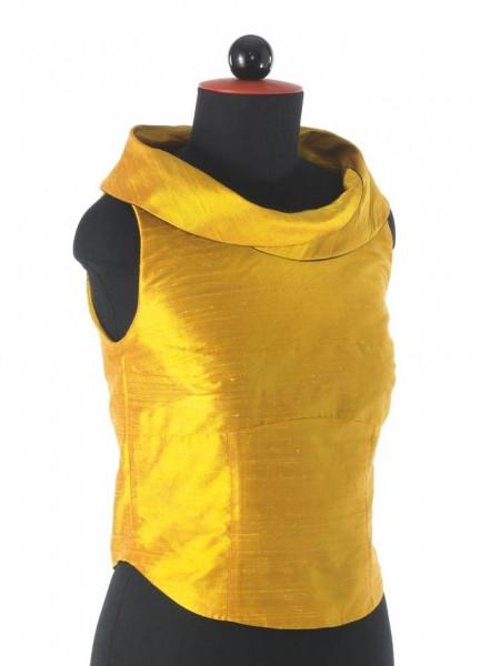 gelbes Seidentop mit Kragen