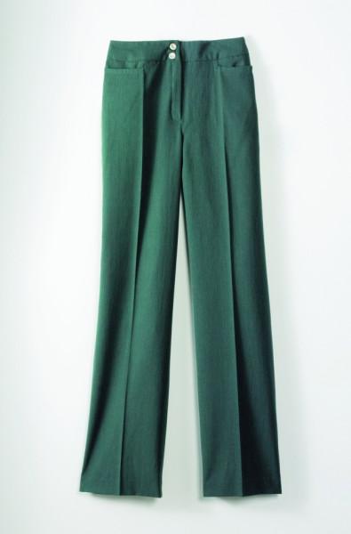 grüne, taillienhohe Hose mit Bündchen und 2 kleinen Taschen unterhalb des Bündchensn