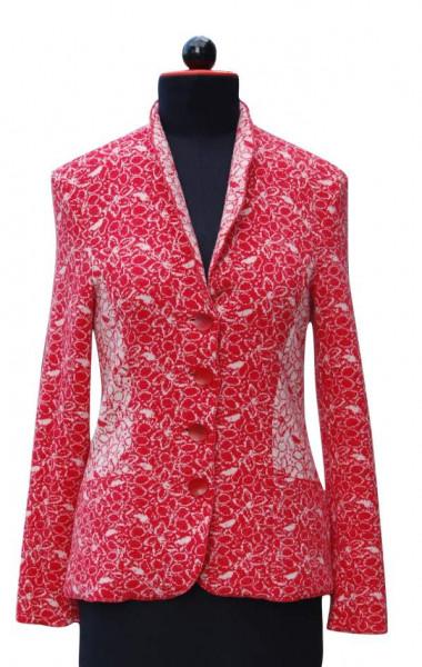 rot-weiß gemusterter Blazer aus Wolljacquard