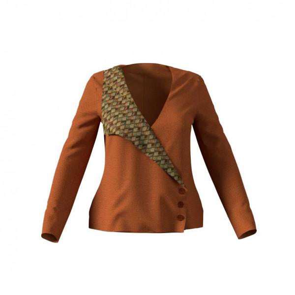 Rostfabige Jacke mit einseitigem Kragen aus gemustertem Brokat