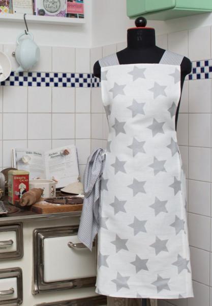 weiße Baumwollschürze mit silbernen Sternen, Vorderansicht