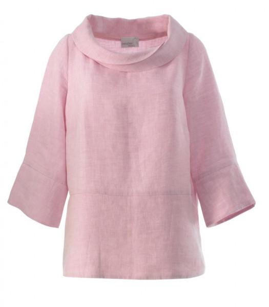 rosa Bluse mit dekorativem Kragen und breitem Saum