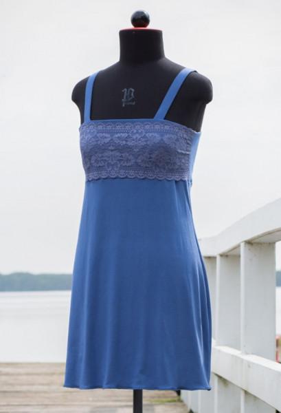 blaues Jerseykleidchen mit Spitzenpasse