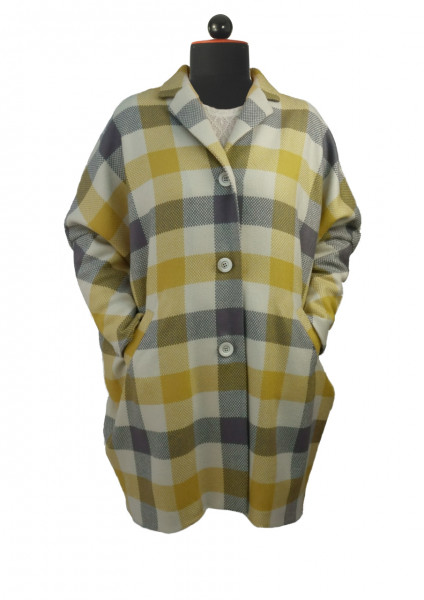 Mantel mit Fledermausärmeln aus gelb-grau-weiß karierten Wollstoff