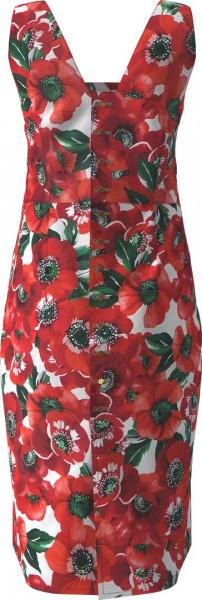 Trägerkleid aus leinen mit Mohn bedruckt von hinten.