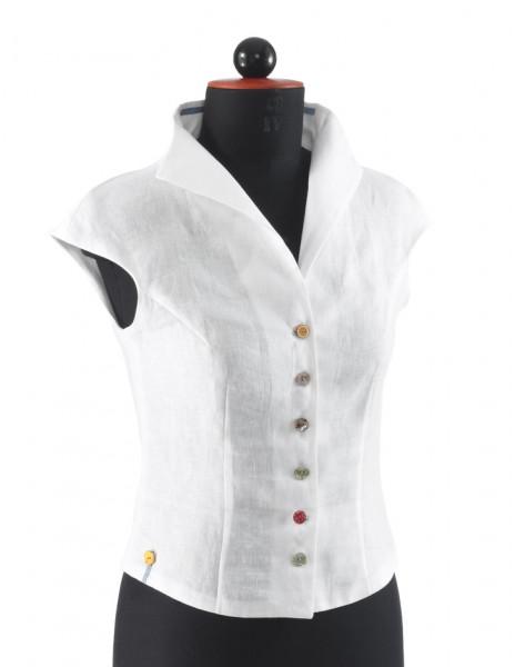 Frontansicht weiße Bluse mit einreihiger bunter Knopfleiste an Schneiderbüste