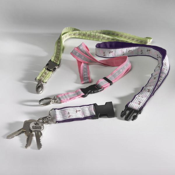 3 Schlüsselbänder in grün, rosa und violett mit Bortenverzierung