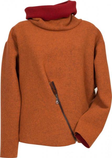Oranger Walkpullover mit Reißverschluß