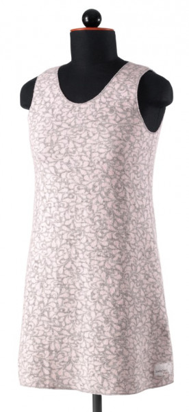 Trägerkleid aus grau-rosa gemustertem Jaquardwalk