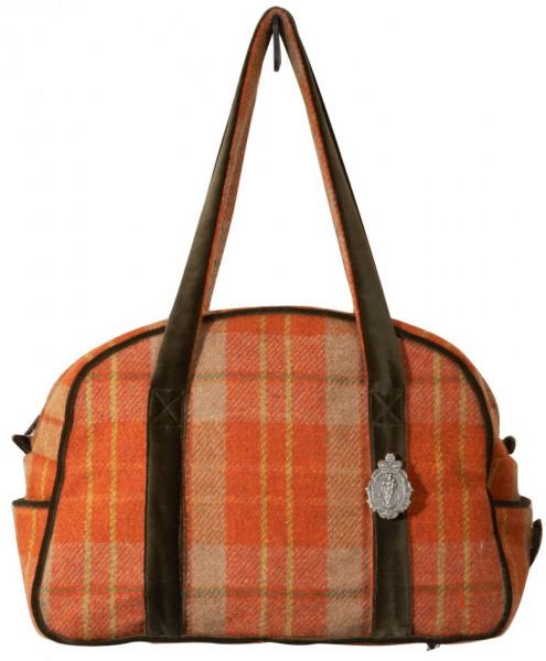 orange karierte Handtasche