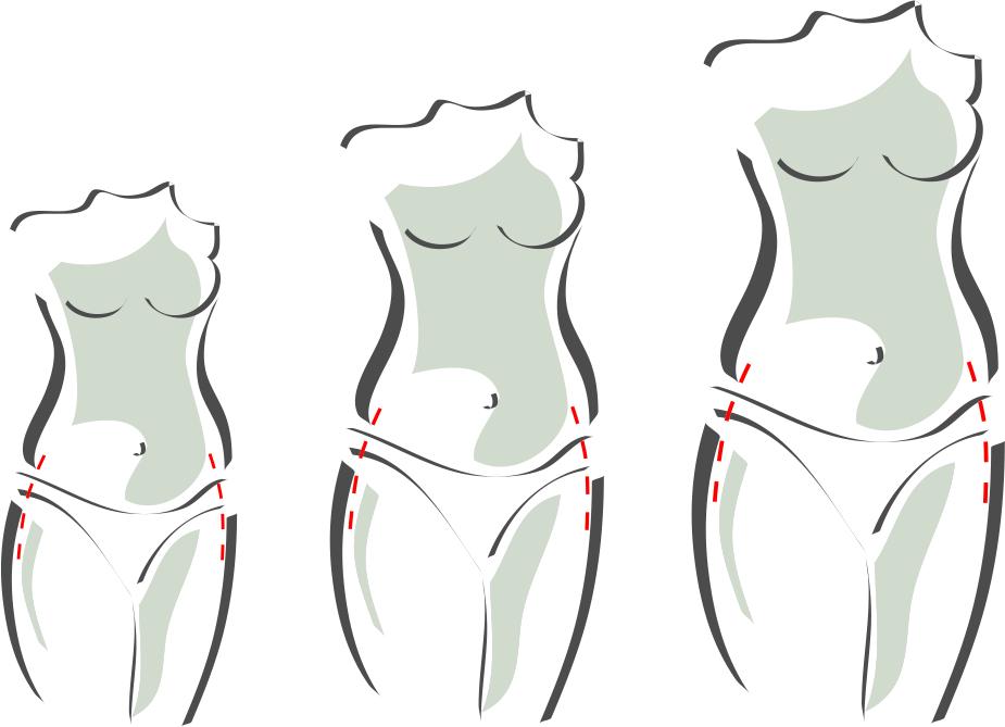 Schnittmuster für 3 Körperhöhen